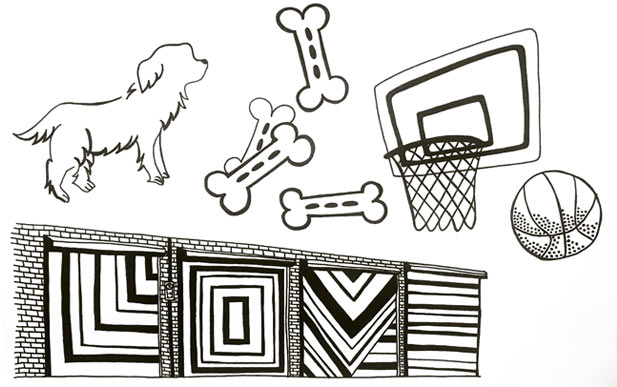Dog toys and activities illustration